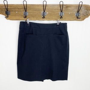 Theory A Line Wool Skirt Maine Daly Charcoal Black
